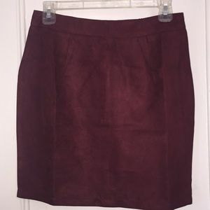 New wine colored suede skirt